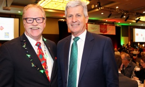 From left, Jeff Turner, vice president and chief development officer of Kind Canada, with lawyer Larry Kelly, senior partner at Kelly Santini LLP, at the Christmas Cheer Breakfast held at the Westin Ottawa on Friday, December 8, 2017. Photo by Caroline Phillips