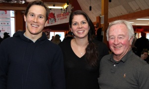 From left, Alex Hunt with Kelly Santini law partners Lisa Langevin and Don Burke at the Ronald McDonald House SkiFest, held at Mont Ste. Marie on Thursday, January 25, 2018. Photo by Caroline Phillips