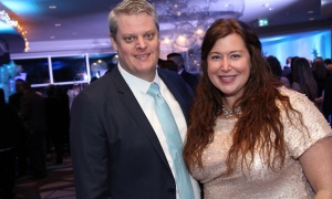 Danielle Robinson, president of the Ottawa Senators Foundation, with Wayne Mullett at the Kaleidoscope of Hope gala held at the Brookstreet Hotel on Friday, February 9, 2018. Photo by Caroline Phillips