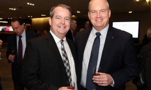 From right, Conservative foreign affairs critic Erin O'Toole with lawyer John MacDonell, his one-time chief of staff under the Harper government, at the Macdonald-Laurier Institute dinner held at the Canadian War Museum on Tuesday, February 13, 2018. Photo by Caroline Phillips