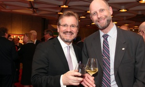 From left, Brian Crombie, acting chief financial officer of the Ottawa Senators, with Jonathan Bodden, vice president of the Ottawa Senators Foundation, at the National Arts Centre on Thursday, March 1, 2018 for a tribute dinner to Peter Herrndorf.