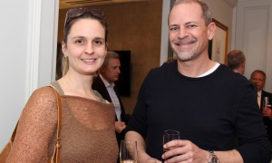 Westboro B.I.A. incoming board member Richard Brown of Urban Turf Landscape Solutions with Melissa Clark at the Celebration of Westboro party held at Mizrahi Developments' presentation gallery on Tuesday, March 6, 2018. Photo by Caroline Phillips