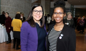 From left, Tina Nesrallah, regional president of RBC, with Ililli Ahmed, co-founder of the Intersectional Feminism Club at Colonel By Secondary School, at the International Women's Day breakfast reception hosted by Mayor Jim Watson at Ottawa City Hall. Photo by Caroline Phillips