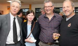 From left, Acart Communications president and founder Al Albania — in mid-sentence — with Dr. Hilary Phenix and Randy Marusyk, partner at MBM Intellectual Property Law, and Dr. Sam Kucey, at Gusto Worldwide Media's studio grand opening in Ottawa on Tuesday, April 3, 2018. Photo by Caroline Phillips