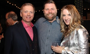 From left, Sean Murray, CEO of Sakto Corporation, with Brett Tackaberry, director of technology at Rebel, with Taryn Manias at Gusto Worldwide Media's studio grand opening in Ottawa on Tuesday, April 3, 2018. Photo by Caroline Phillips