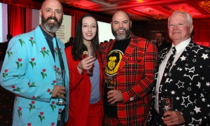 From left, Erik Hobbins with daughter Ila Hobbins, brother Adam Hobbins and father Don Hobbins of the family-owned Hobbins Hockey Shop, at the Draft Party held at the Brookstreet Hotel on Thursday, April 5, 2018, on the eve of the Molson Canadian Sens Alumni & NHL Celebrity Cup.