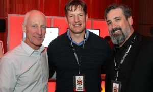 Former Ottawa Senators player Shean Donovan with Danny Vaughan, left, from ‎Novatech Engineering Consultants, and Richard Duguay, head of business development for Tomlinson Group of Companies, at the Draft Party held at the Brookstreet Hotel on Thursday, April 5, 2018, on the eve of the Molson Canadian Sens Alumni & NHL Celebrity Cup.
