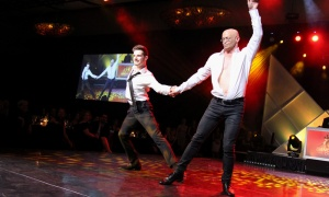 Rémy Bourquin from Arthur Murray Dance Ottawa with Dr. Paul MacPherson at the 2018 Dancing with the Docs. Photo by Caroline Phillips
