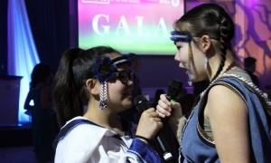 Guests were summoned to the ballroom for dinner at the Businesswoman of the Year Awards Gala with a traditional throat singing performance. Photo by Caroline Phillips