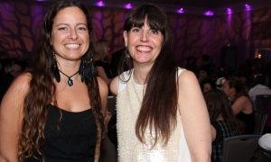 From left, Agnes Kwasniewska,  ‎master grower for sponsor Hydropothecary, with its marketing manager, Christina Selin, at the Businesswoman of the Year Awards Gala, held Thursday, April 19, 2018. Photo by Caroline Phillips