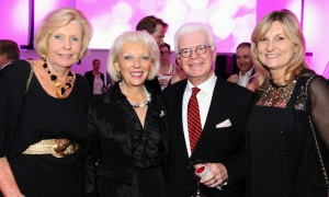 From left, community leaders Shirley Westeinde, Barbara Farber and Len Farber, along with visual artist Katherine Jeans, at the Ottawa Art Gallery's opening gala, held Friday, April 27, 2018. Photo by Caroline Phillips