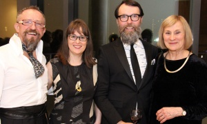From left, visual artist Ian A. Matthews with Dr. Bridget Thompson and her partner, visual artist and OAG board member Danny Hussey of Central Art Garage, and visual artist Leslie Reid at the Ottawa Art Gallery's opening gala, held Friday, April 27, 2018. Photo by Caroline Phillips
