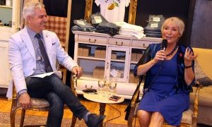 Kyle Winters and Barbara Crook had a friendly fireside chat during the CANFAR Byward Social held at Schad boutique on Tuesday, May 1, 2018. Photo by Caroline Phillips