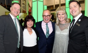 From left, Jean-Guy Fréchette with Robyn Heaton, dean of the faculty of arts, media and design, along with Scott Anderson, who's part of the college's executive team, Tracy McDougall, and Ron McLester, head of the college's truth, reconciliation and indigenization at Algonquin College's 50th anniversary gala. Photo by Caroline Phillips