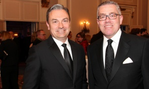 From left, Neil Parmenter, president and CEO of the Canadian Bankers Association, with Garry Keller, vice president with Strategy Corp, at the Politics and the Pen dinner. Photo by Caroline Phillips