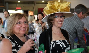 Barbara Cain, right, is dressed for the occasion, seen with Stephanie Caron,  at the Ottawa Humane Society Garden Party. Photo by Caroline Phillips