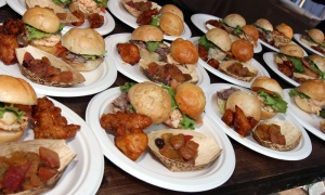 Sliced beef tenderloin sliders and fried chicken bites, along  with Chioggia beet salad, were on the menu at this year's 4th of July Celebration, hosted by the U.S. Embassy.