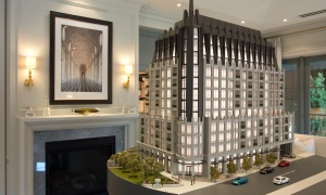 The model of 1451 Wellington at its presentation gallery, located on the future site of the development.