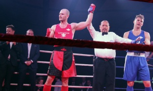 Michael Bradley is declared the winner in his fight against Derek Newberry at the 2018 Fight for the Cure event held for the Ottawa Regional Cancer Foundation on Saturday, Oct. 13, 2018. Photo by Caroline Phillips