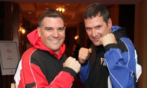 From left, Jason Tilley and Matt Jacques, prior to their fight, at the 2018 Fight for the Cure event held for the Ottawa Regional Cancer Foundation on Saturday, Oct. 13, 2018. Photo by Caroline Phillips