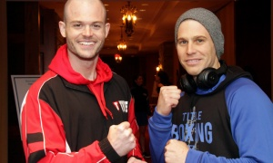 From left, Michael Bradley and Derek Newberry, prior to their fight, at the 2018 Fight for the Cure event held for the Ottawa Regional Cancer Foundation on Saturday, Oct. 13, 2018. Photo by Caroline Phillips