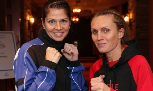 From left, Lisa Langevin and Daphne Ballard, prior to their fight, at the 2018 Fight for the Cure event held for the Ottawa Regional Cancer Foundation on Saturday, Oct. 13, 2018. Photo by Caroline Phillips