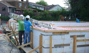 Photo of the build in progress for Habitat for Humanity Greater Ottawa's Leacross Landing.