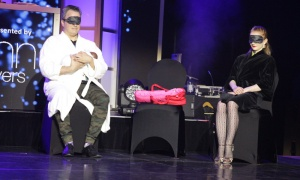 Dr. Glenn Posner with dance partner Kamila Lichvarova begin their dance performance with some theatrical flair during the Dancing with the Docs competition, held during a gala dinner at the Hilton Lac-Leamy on Saturday, April 6, 2019, in support of patient care and research at The Ottawa Hospital. Photo by Caroline Phillips