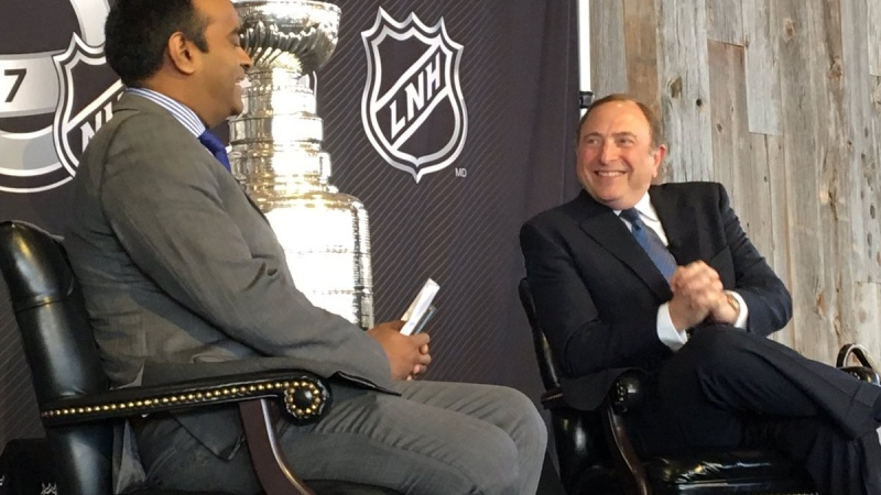 NHL commissioner Gary Bettman, right, speaks with TSN 1200's Ian Mendes at the Mayor's Breakfast speaker series Friday morning.