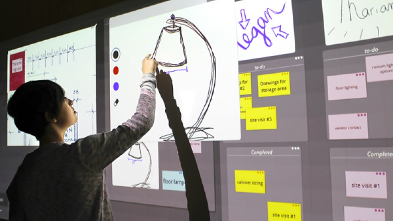 Nureva's Span ideation system is a cloud-based digital canvas that is projected on a wall to replace paper.