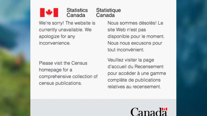 A screen capture of Statistics Canada's website