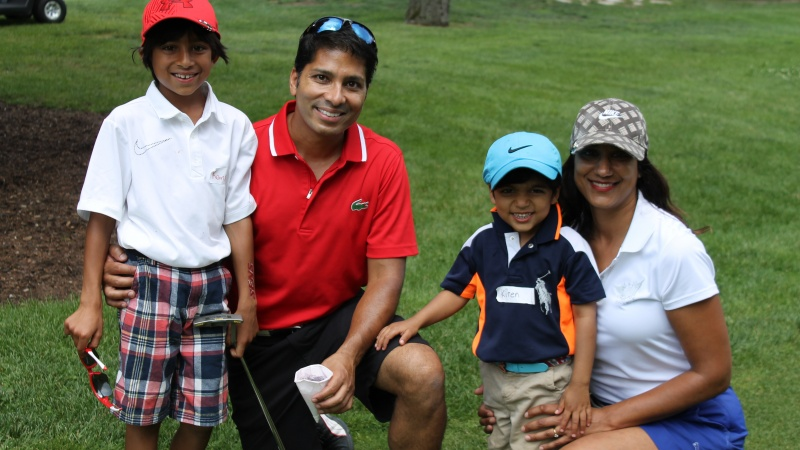 Family on golf course