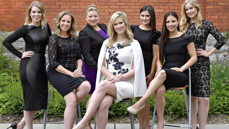 President and CEO Jennifer Stewart, centre, and Syntax Strategic's team of communications, PR and marketing professionals.