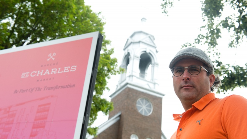 Andrew Reeves of Linebox poses in front of the church.