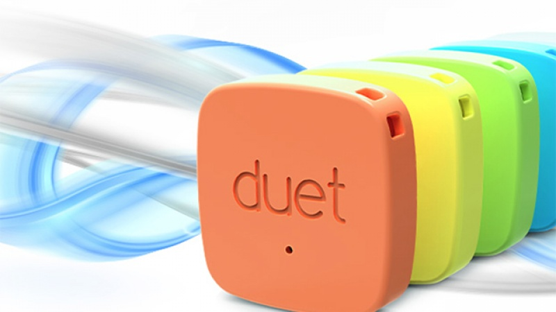 A closeup of the Duet smart tag.