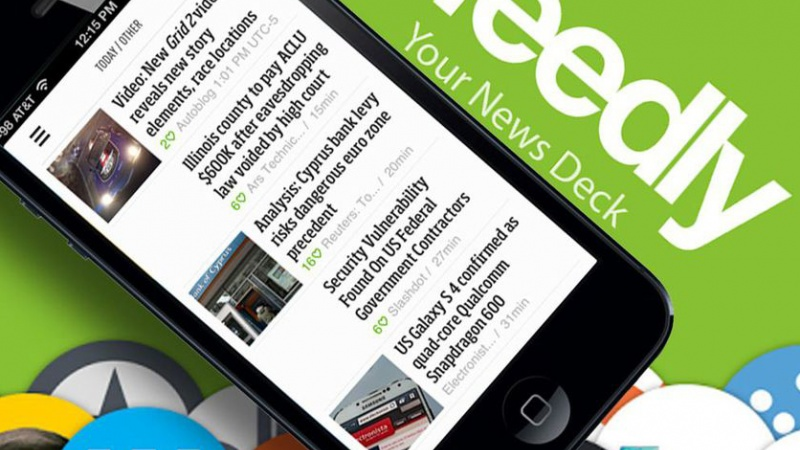 A shot of the feedly app on a mobile phone.