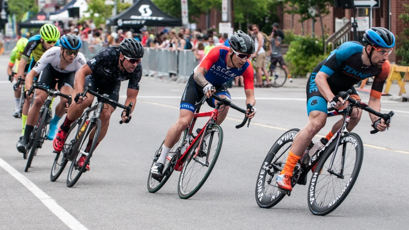 Racers take part in the Preston Street Criterium