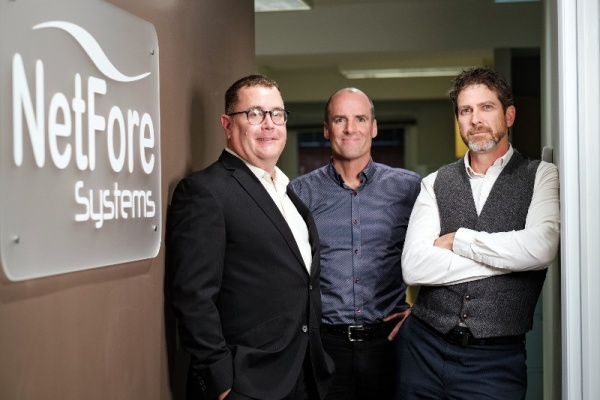 From left to right: Tim Skelly, VP Strategy and Business Operations Stratford Managers Corporation. Allen Carpenter, President NetFore Systems. Ken Workun, CEO NetFore Systems.